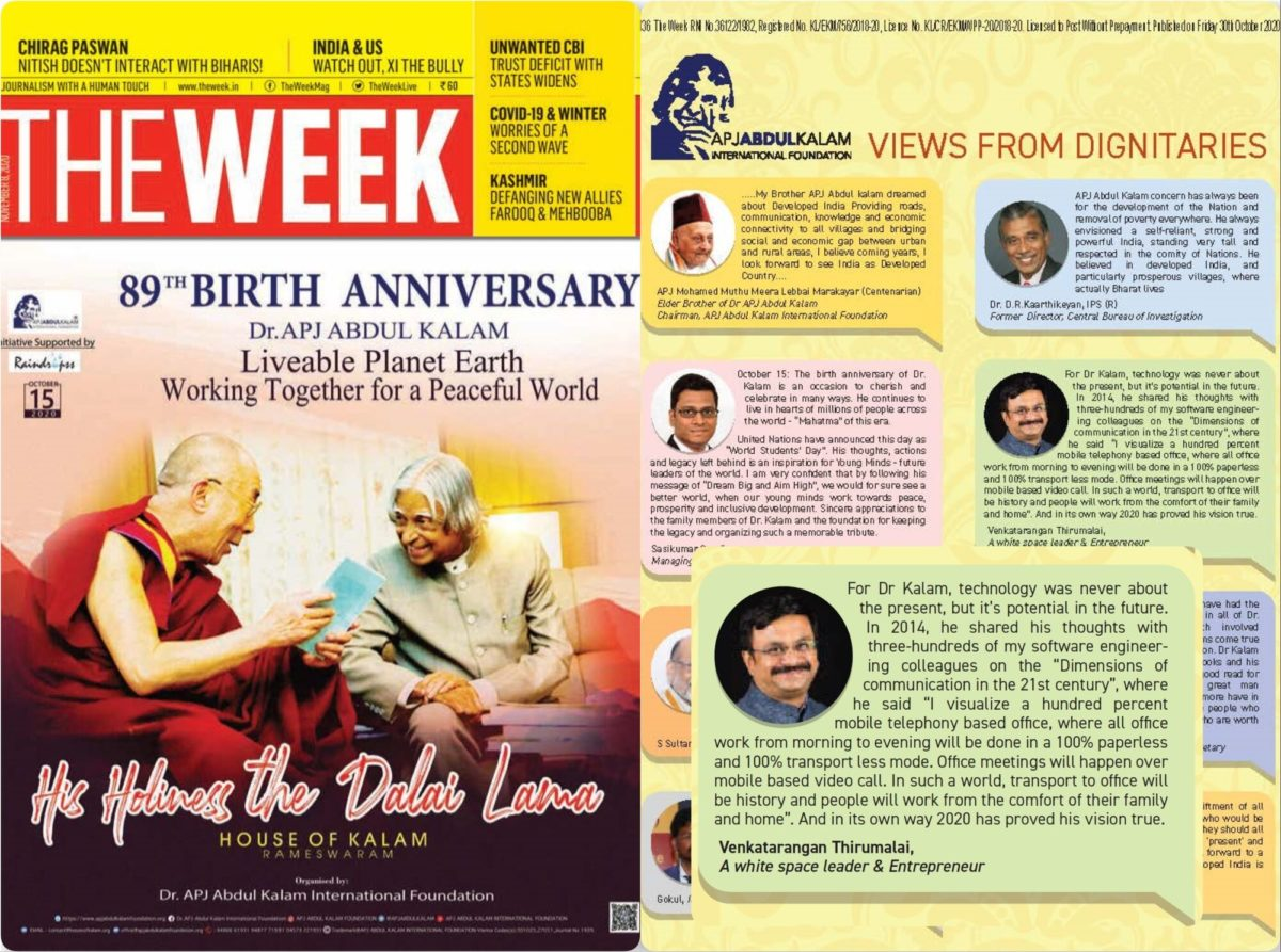 The Week Magazine - 8th Nov 2020 - 89th Birth Anniversary of Dr. APJ Abdul Kalam and His Holiness the Dalai Lama