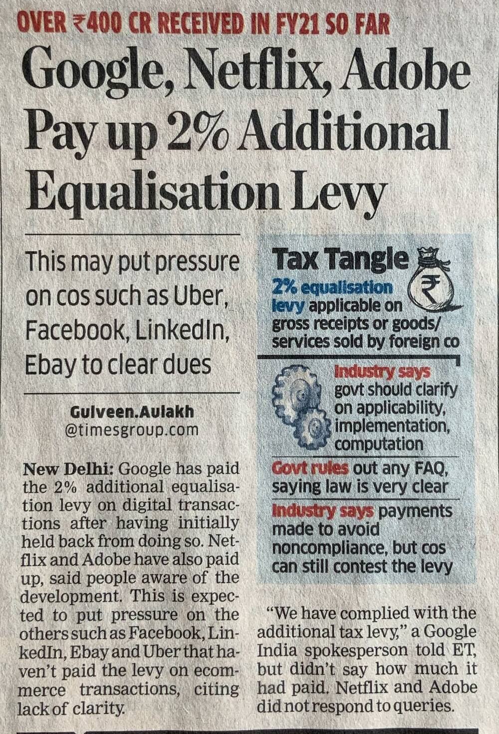 Courtesy: The Economic Times, 8th October 2020