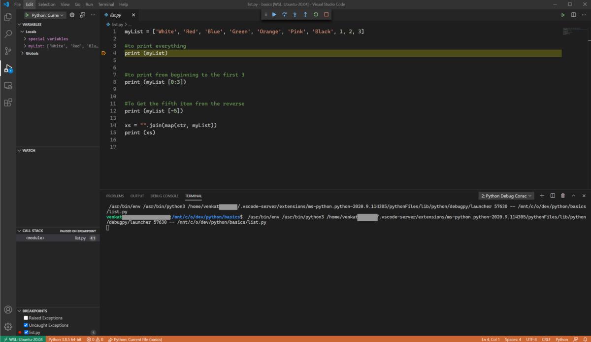 Visual Studio Code debugging Python code in WSL Ubuntu Linux