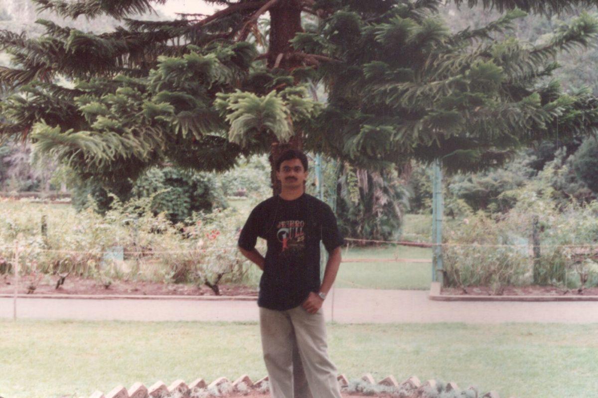 Venkatarangan posing for a picture in Sim's Park, Coonoor in 1995