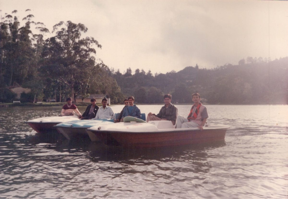 Boating with classmates in Ooty lake in 1995