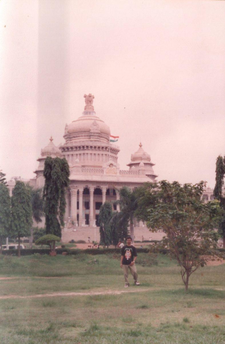 Venkatarangan Thirumalai in front of Vidhana Soudha, Bangalore in 1995