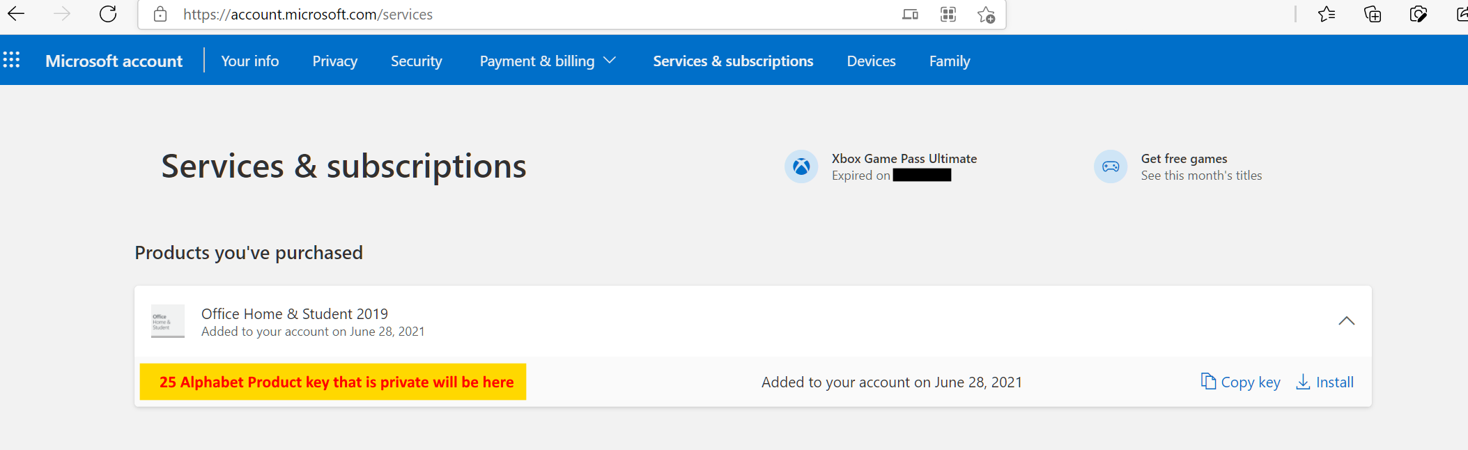 MIcrosoft Office Home and Student edition product key in Microsoft Accounts Services page