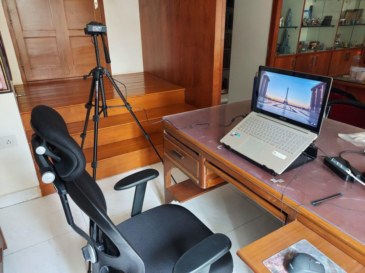 TVS 1080p Webcam fixed on a tripod