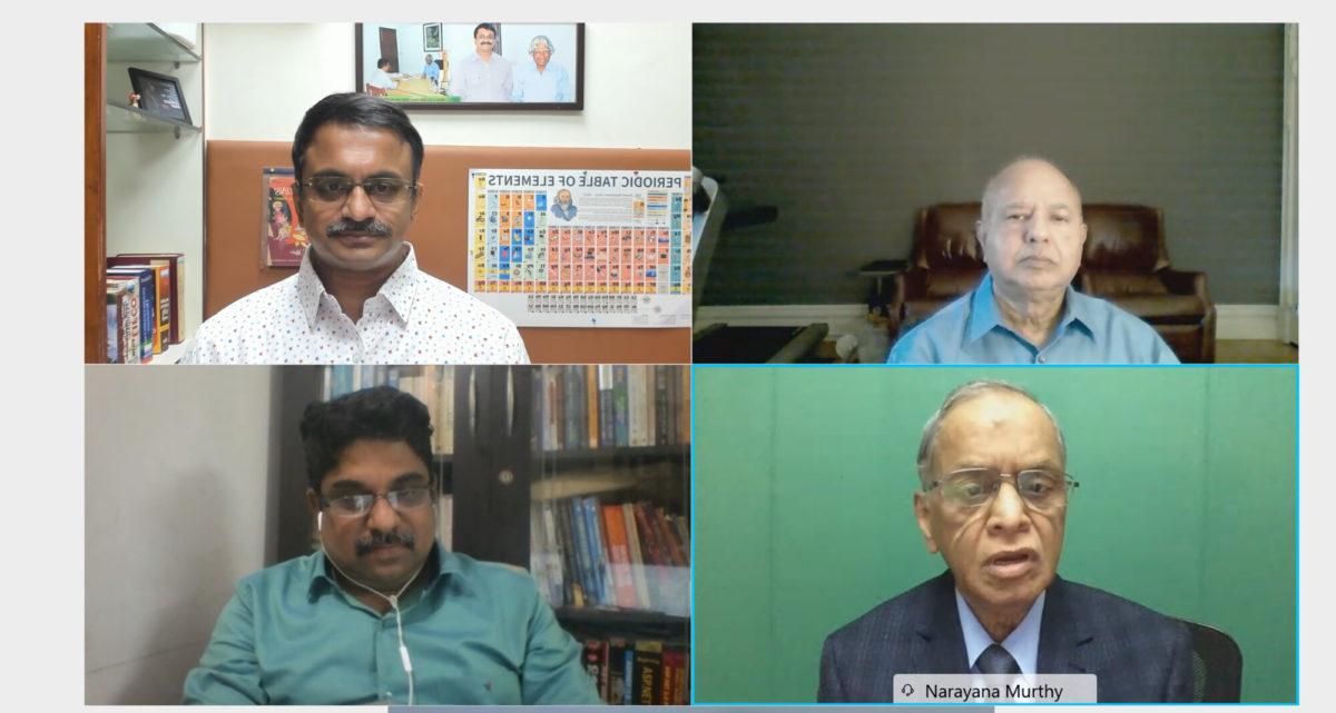 Mr N R Narayana Murthy answering a question from Venkatarangan Thirumalai