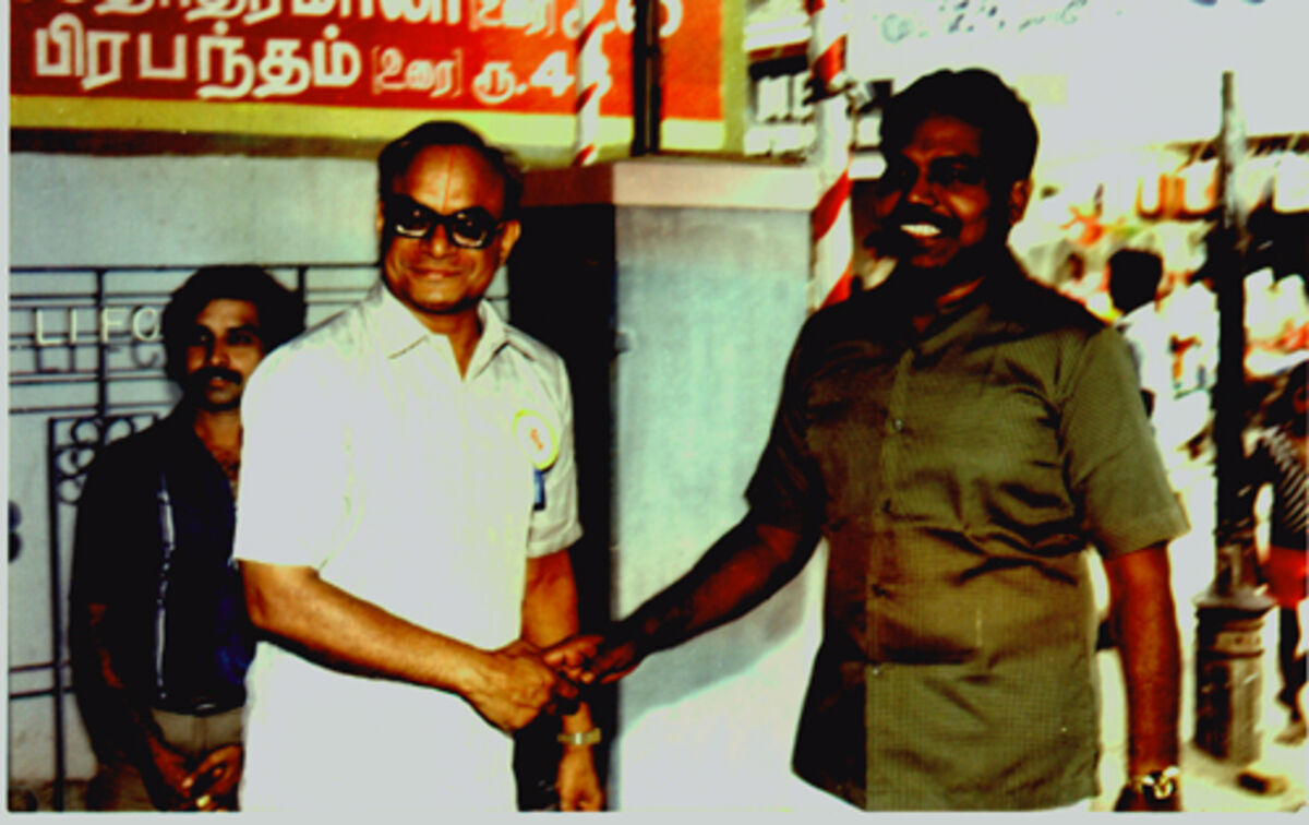 Mr Varadan welcoming then I.G. of Tamil Nadu Police Mr Sripal, IPS in May 1986