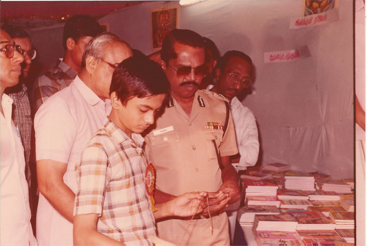 Author (Venkatarangan) showing a title on May 1988 to then Madras City Police commissioner Mr P Durai, IPS.