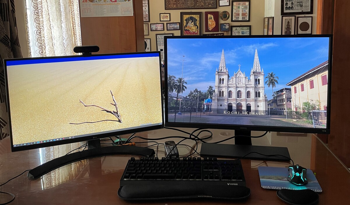 On the right side is the BenQ 32 inches 4K HDR monitor. To its left is LG 27 inches 4K monitor that I have been using for the last four years.