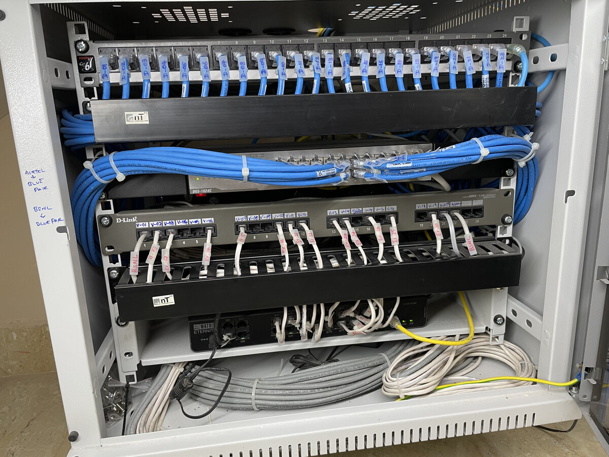 New Network rack sporting patch panels for data and voice, D-Link 24-Port Switch, Matrix EPABX
