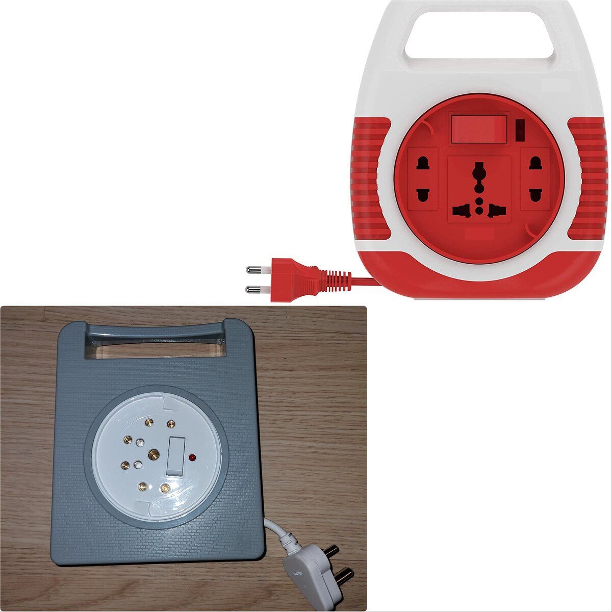 (For illustration purpose only) The one on top with bright red-colour shows the Universal sockets which are not followed in India but still sold in India. The one in the bottom has the BS 546 plugs with round pins