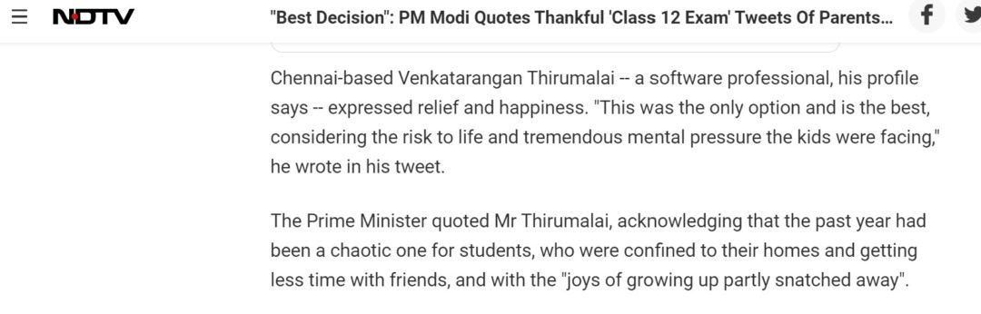 NDTV: Chennai-based Venkatarangan Thirumalai -- a software professional, his profile says -- expressed relief and happiness.