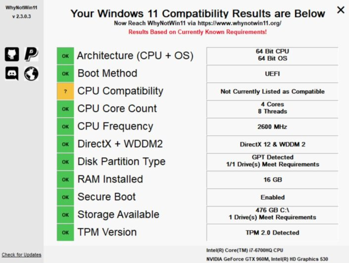 Third-Party WhyNotWin11 App to check the compatibility of your PC for Windows 11