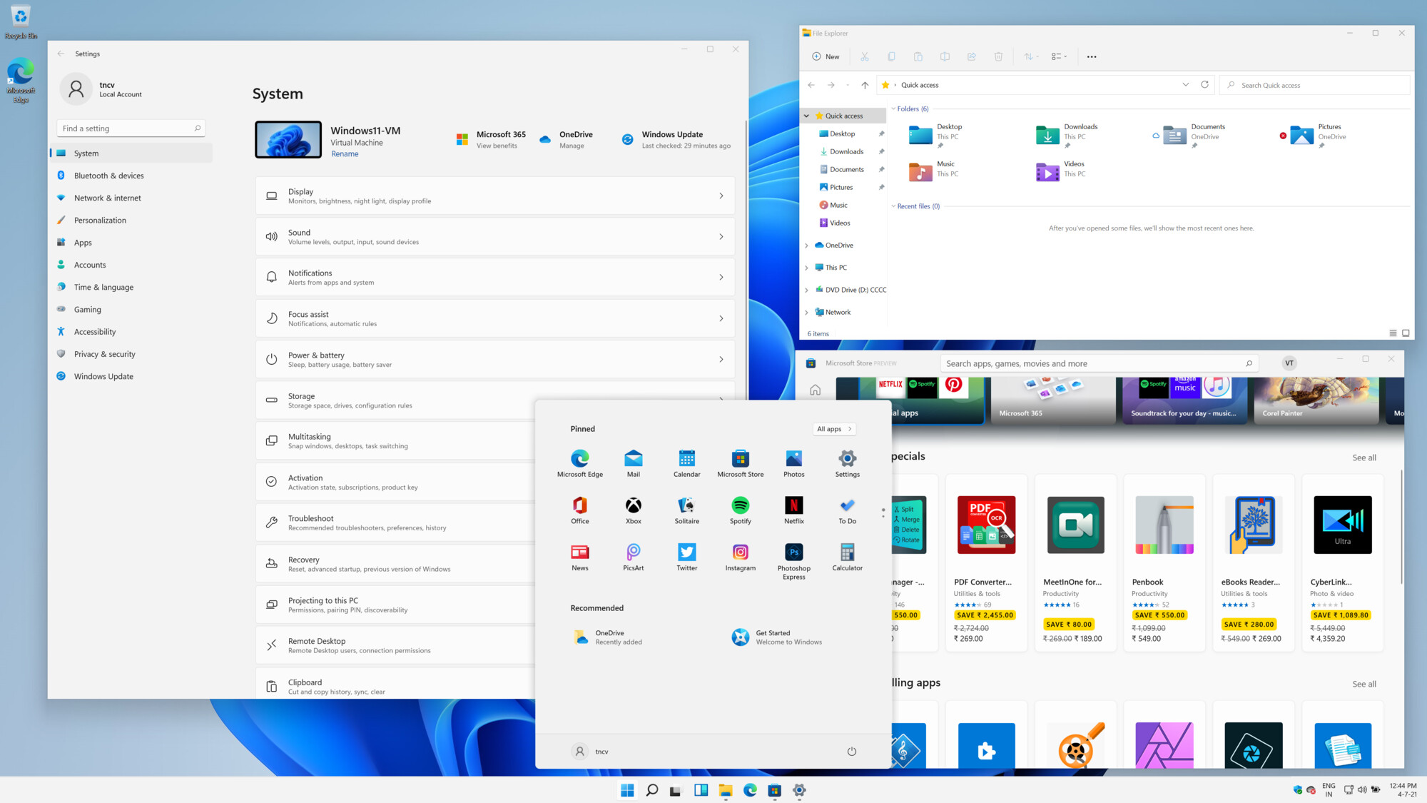 The all new rounded-corners and fluent interface of Windows 11