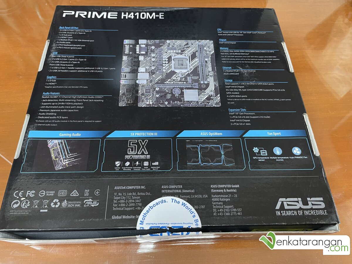 Specification of ASUS Prime H410M-E Motherboard