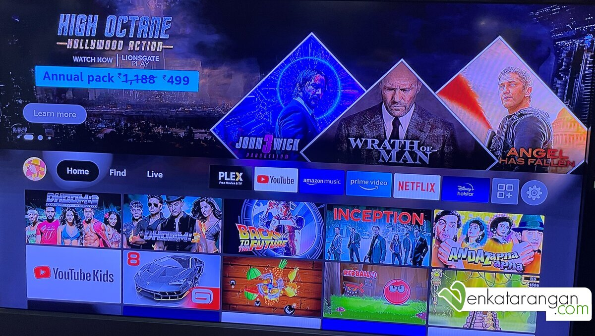 On start, the device greets you with the familiar smart-TV (Google TV) interface showing the apps you have installed and the popular contents from them.