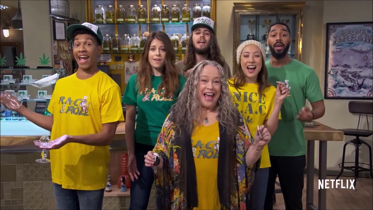 Aaron Moten as Travis, Elizabeth Alderfer as Olivia (a budtender), Dougie Baldwin as Pete (the in-store grower), Kathy Bates as Ruth Whitefeather Feldman, Elizabeth Ho as Jenny (a budtender) and Tone Bell as Carter (the security guard)