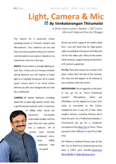 PSAI Prospeak-August 2021. Light, Camera and Mic by Venkatarangan Thirumalai