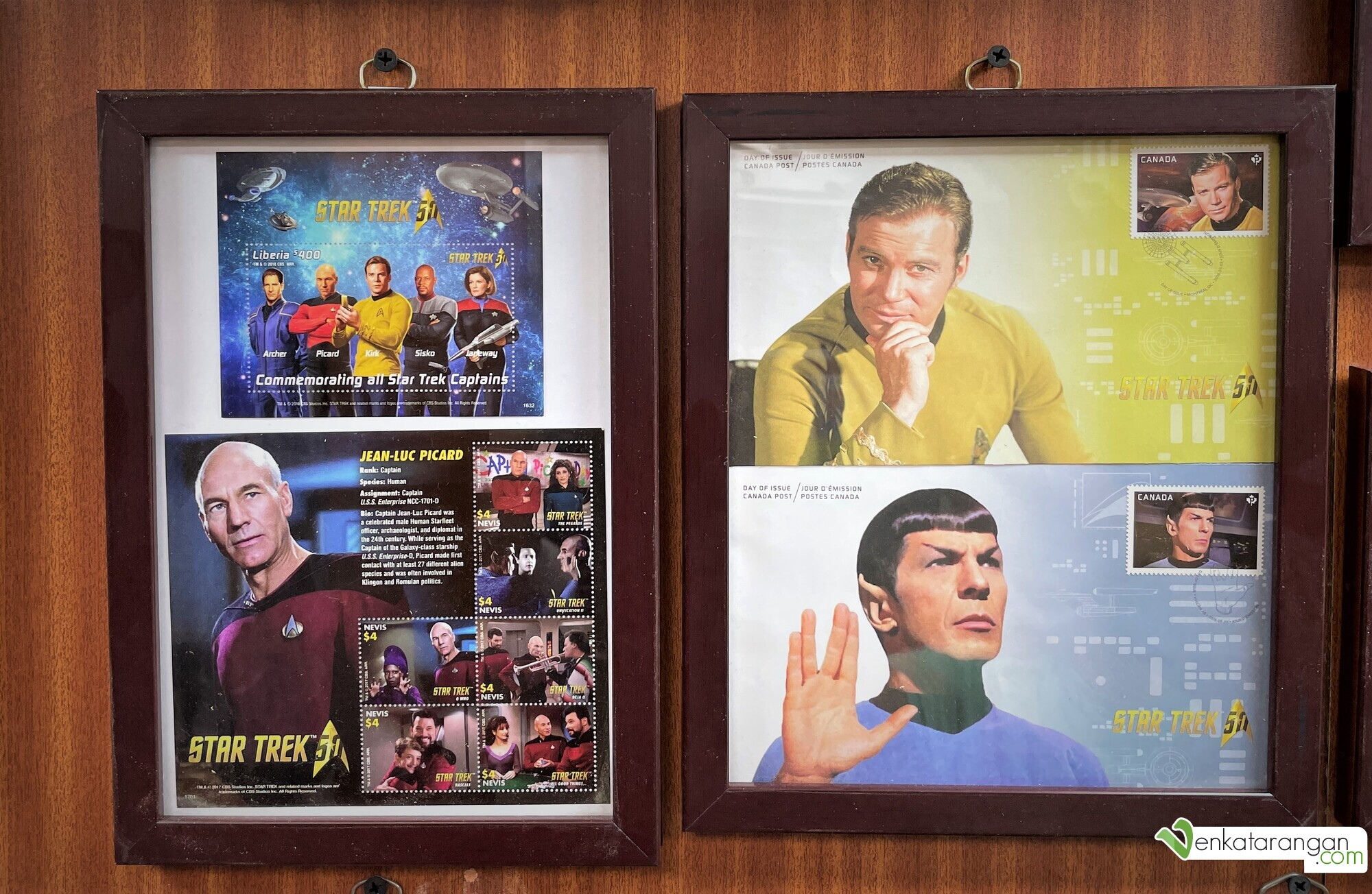 Commemorating all Star Trek Captains by Canada Post