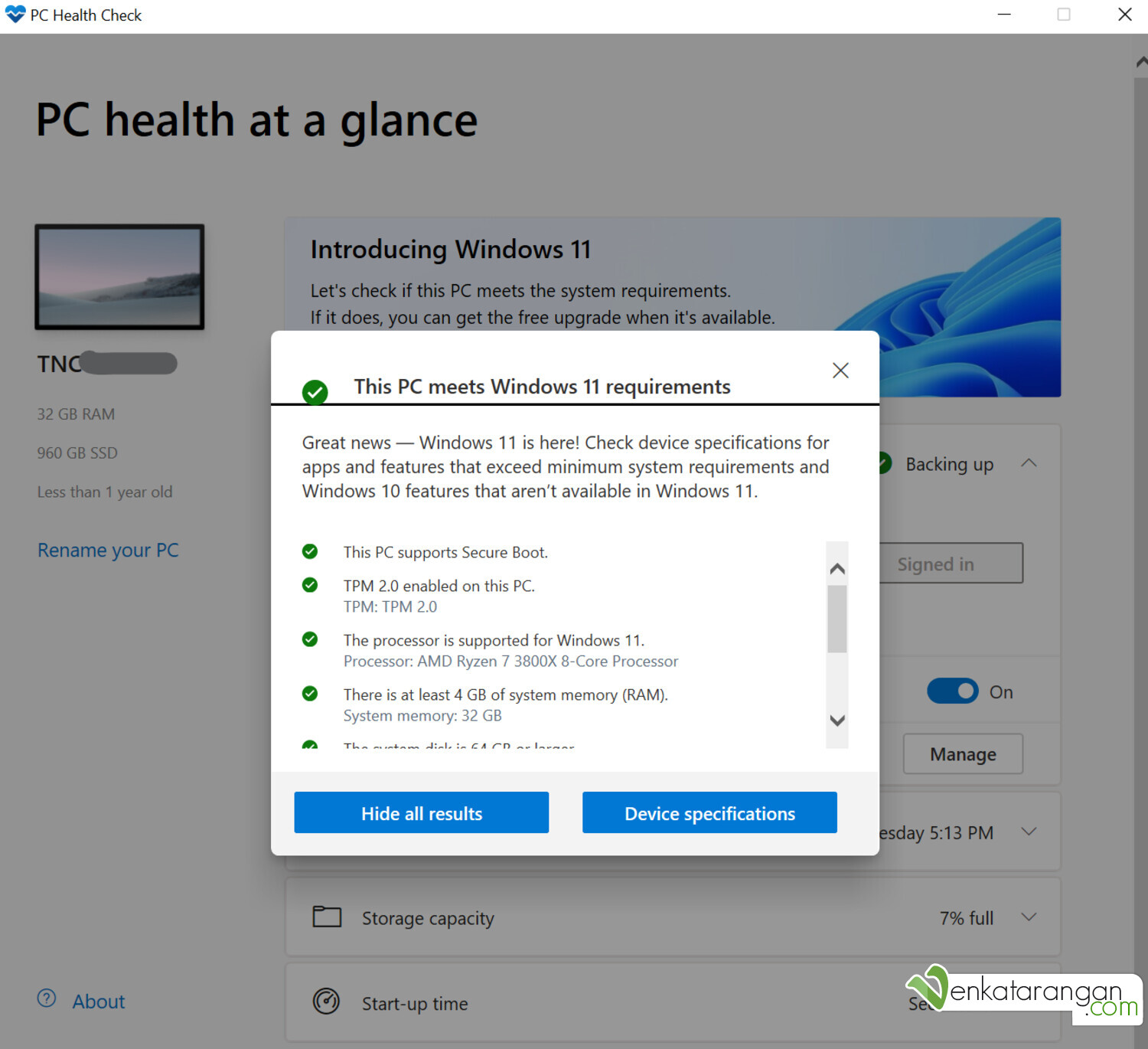 After enabling TPM and Secure Boot in the mother board BIOS, PC Health Check passed with flying colours (Note: This screenshot was taken in Windows 11 but it was the same I saw in Windows 10)